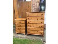 Free solid wood pine chest of drawers x 2 units