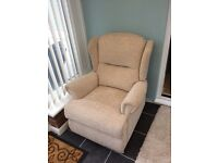 Reclining arm chair manual as new upholstered