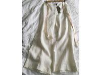 John Rocha Cream Linen Palazzo Trousers - size Petite 8