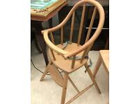 Wooden kids high chair
