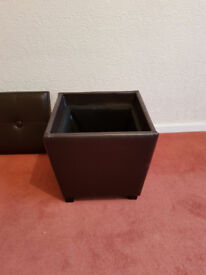 brown leather look stool/box with lift off top