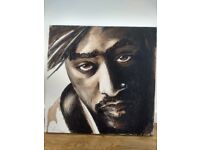 2Pac original painting on wood frame canvas