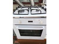 Hotpoint white single built in oven & hob