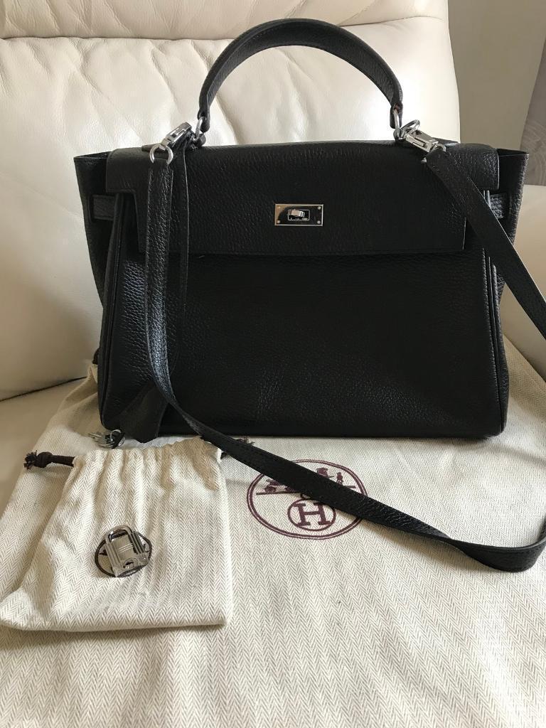 fc9ad2bff1a2 Hermes Kelly Black Togo 32cm Handbag