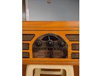 Wooden Crosley Record Player + CD, Radio, Cassette deck & headphone jack!