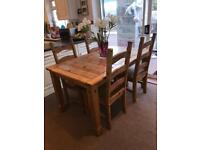 Wooden table and 4 x chairs