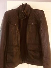 Jneff Banks Brown Leather look jacket. Size Large