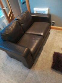 Dark brown leather 3 and 2 seater couch