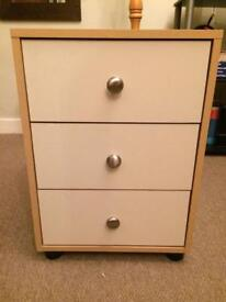 Wardrobe, chest of drawers and bedside table bedroom set