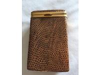 Antique lovely snake skin & bronze cigarette case .