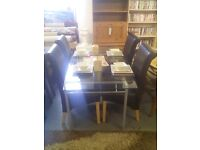 Metal and glass dining table and 4 chairs REF:GT477
