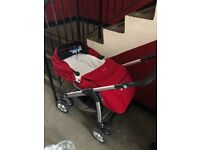 Red silver cross pram in great condition