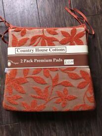 Tie on Seat cushions Pads for wooden chairs or similar Brand New