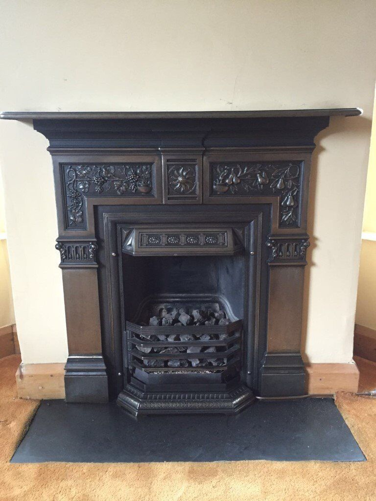 Cast Iron Victorian Fireplace Surround With Real Flame Gas Fire Including Slate Hearth