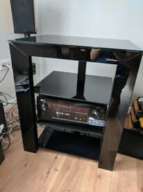 Norstone Piu black glass hifi rack
