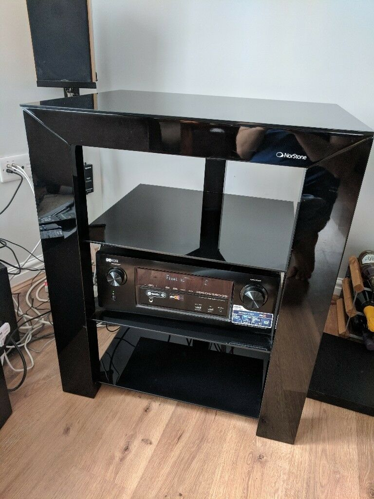 Norstone Piu black glass hifi rack