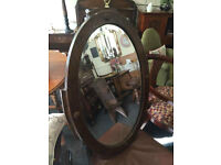 Charming Antique Large Oval Oak Frame Bevelled Mirror W/Decorative Accents