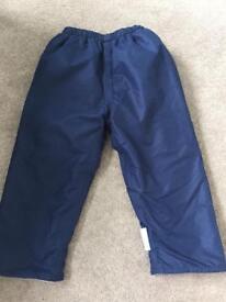Jojo Maman fleece lined waterproof trousers