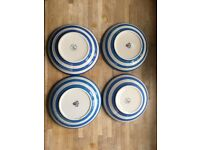 Four Cornishware TG Green Blue and White Pasta Bowls