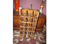 Vintage Bamboo /.Wicker 18 bottle wine rack