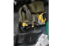 Dewalt set, drill impact driver in case , jigsaw, hoover wet and dry vac, torch, 3 batteries