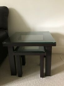 Glass top nest of 2 tables