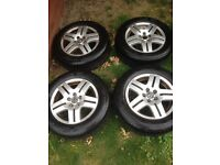 """15"""" VW alloys with tires great tread £120"""