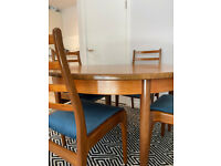 G Plan Fresco Extendable Round Oval Dining Table and Chairs - V B WILKINS RARE