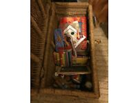 Box with full content of art and craft stuff.