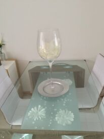 Stunning transparent glass top table with 4 chairs