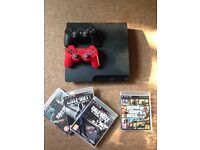 PS3 console + 2 controllers + 4 top games
