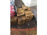 Joblot of reclaimed yellow stock bricks with cement