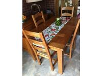 Wooden Dining room table and chairs (with sideboard)