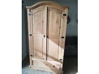 Farmhouse Vintage Style Quality Pinewood Wardrobe Two Door & 1 x Drawer + Rail Delivery Possible