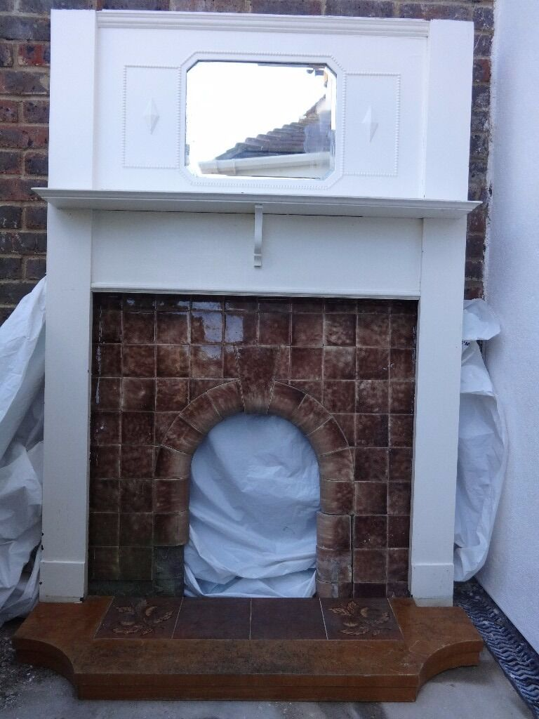 original 1930 u0027s house wooden fireplace surround with tiled insert