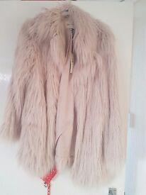 River island rose gold fur jacket