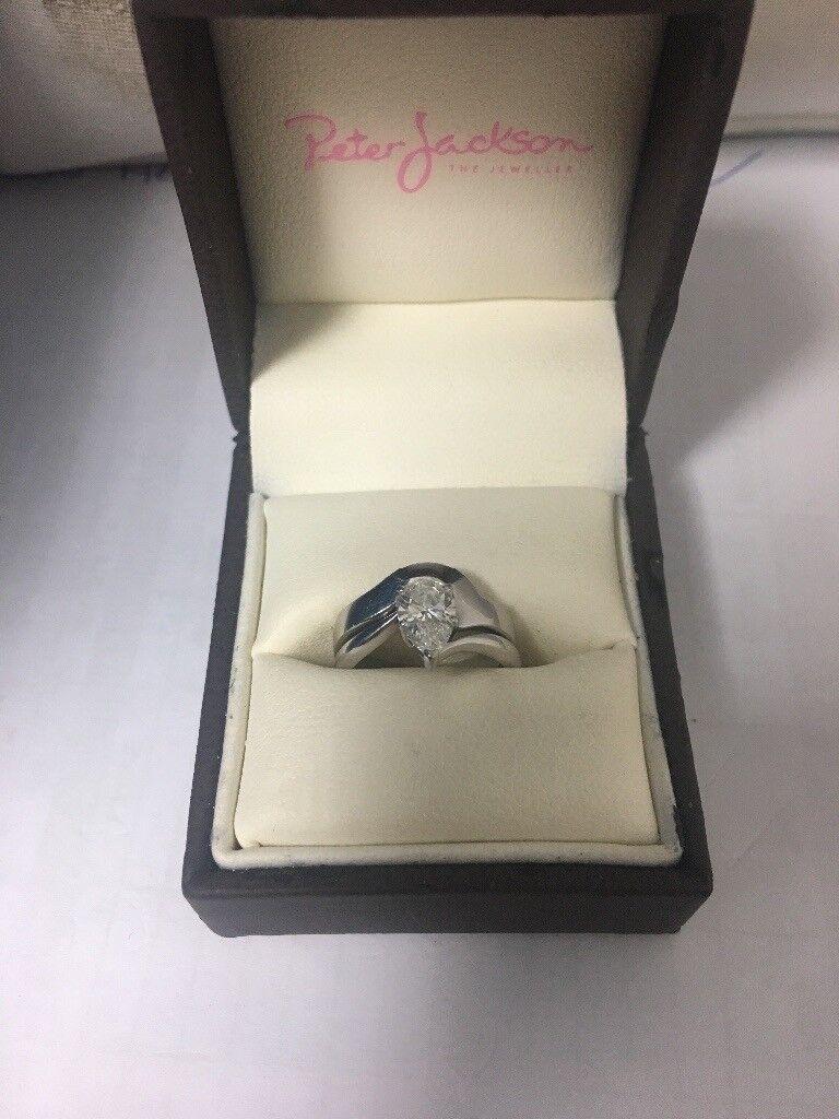18ct Solitare white Gold 0.75 diamond ring Bridal set