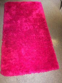 Bright Pink fluffy rug