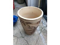 Tall heavy pottery pot indoor/ outdoor beige with pattern