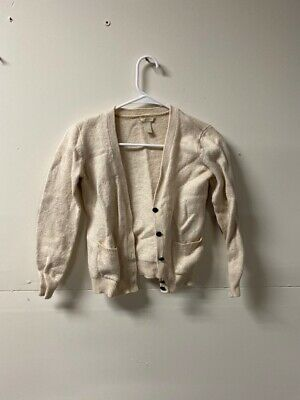FOREVER 21 Womens Cardigan Sweater Beige Long Sleeve V Neck Elbow Patches S