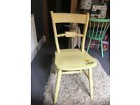 Free vintage Shabby chic retro yellow kitchen dining chair