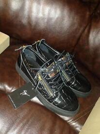 Giuseppe Zanotti Kris Croc Printed Leather Gold Zip Men's Sneakers