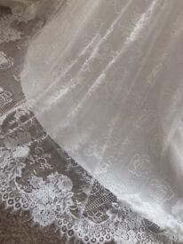 Size 8 brand new, unworn, full lace, strapless, ivory/white wedding dress