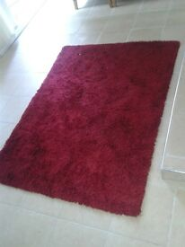 Large red shaggy rug and hand painted flower canvas