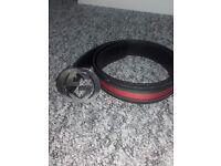 Gucci mens leather belt (red and green)