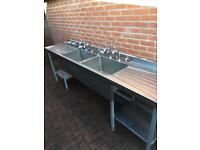 Stainless steel commercial double sink with double drainer