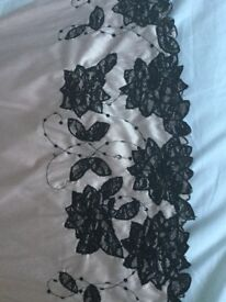 Jane Norman strapless party dress, size 14, pink with black lace
