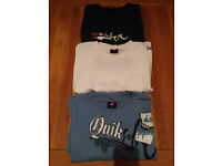 Set of Three Men's Quiksilver T-Shirts (one is L (slightly fitted) and two are M)