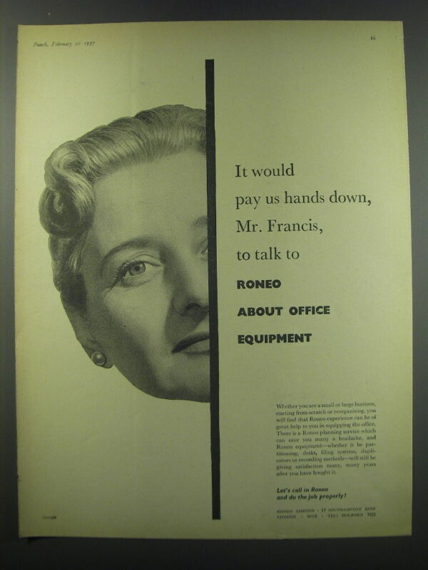 1957 Roneo Office Equipment Ad - It would pay us hands down, Mr. Francis