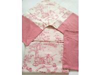 Red & Blue Toile and Check Shabby Chic looking bedding Bundle